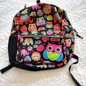 Colorful animal kids school backpack owl elephant
